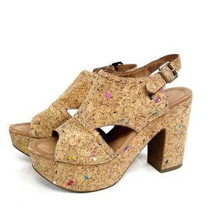 Nicole Resound Cork Open Toe Platform Sandal 6.5